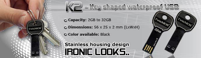"""TwinMOS launched key shaped waterproof USB """"K2"""" - stainless housing design - Ironic Looks..."""